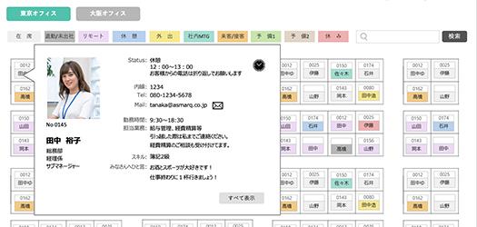 マウスオンで詳細を表示 ※プロフィールの呈示有無や項目は自由に設定可能